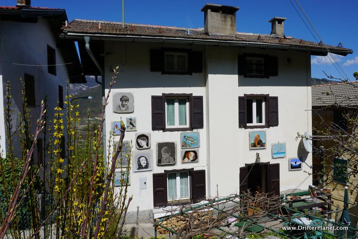 Guardia Painted Village on the Castle to the Mountain hiking trail in Alpe Cimbra, Italy