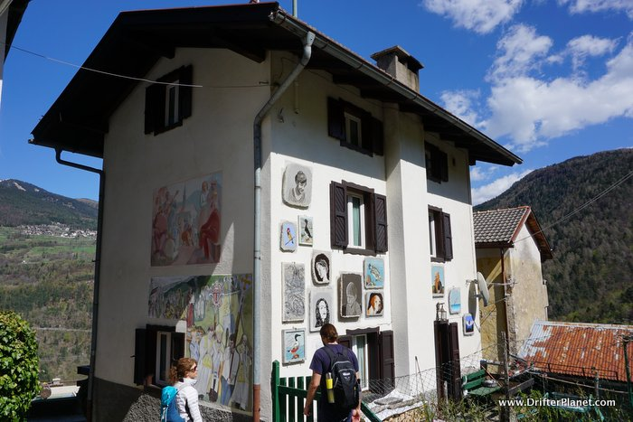 Guardia Village - where the houses display paintings on the wall - Alpe CImbra, Trentino, Italy