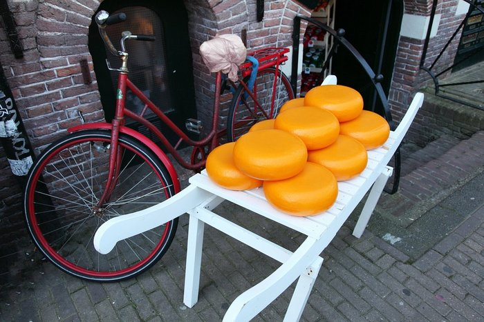 Gouda Cheese and a bicycle - typical sight in the Netherlands