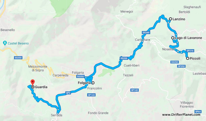 Map of Top Places to visit in Alpe Cimbra, Trentino, Italy
