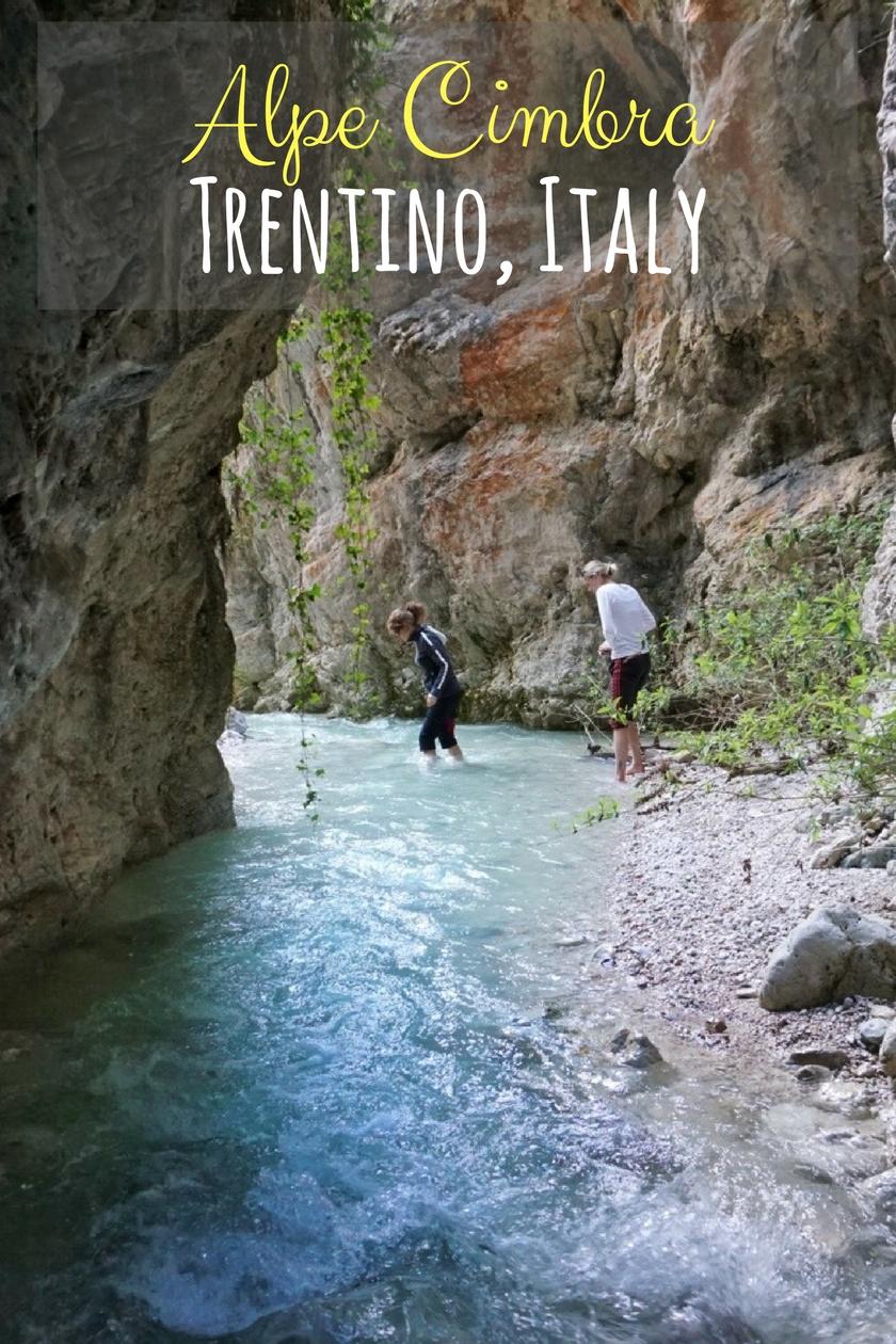 Rio Cavallo river canyon in Alpe Cimbra, Trentino