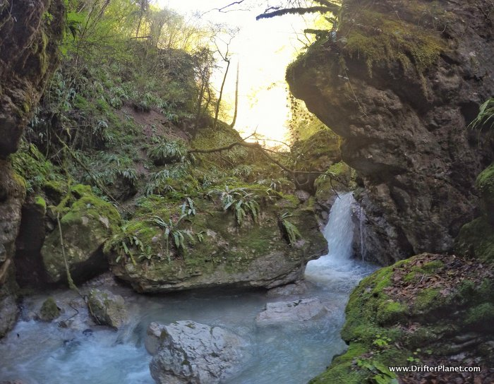 The waterfall at the end of Rio Cavallo River Canyon, hiking in Alpe Cimbra, Trentino, Italy