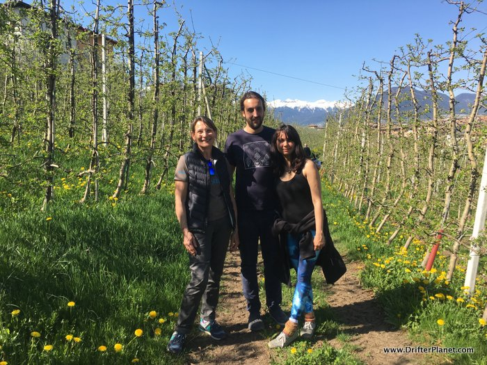 San and I exploring a lovely Apple Orchard in Ville d'Anaunia, Val di Non with Brunella