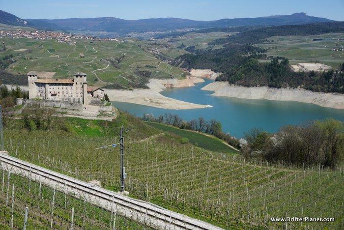 Cles Castle and Lake Santa Giustina in Val di Non, Trentino, Italy