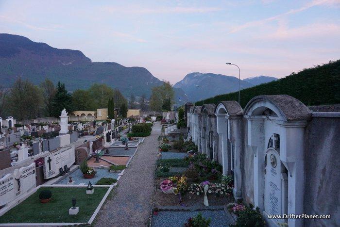 A cemetery in Flavon, Val di Non, Trentino, Italy