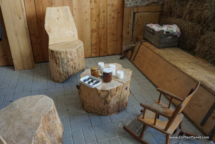 The sitting area in La Cucolq - the Mini Cheese Factory in Cles, Val di Non, Italy