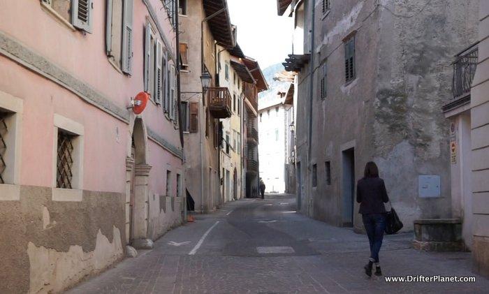 The pretty streets of Cles in Val di Non, Trentino, Italy