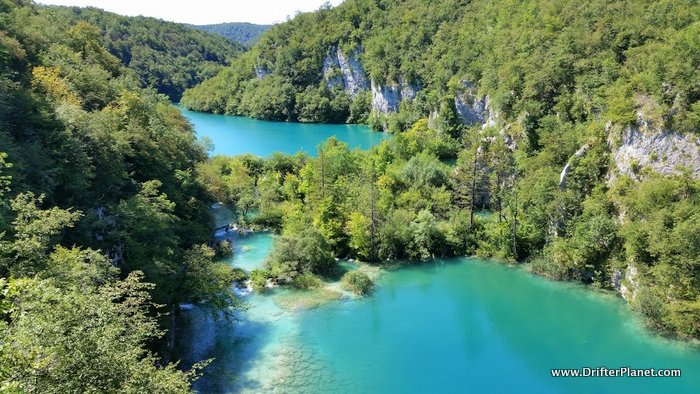 One of the many stunning viewpoints inside Plitvice Lakes National Park, Croatia