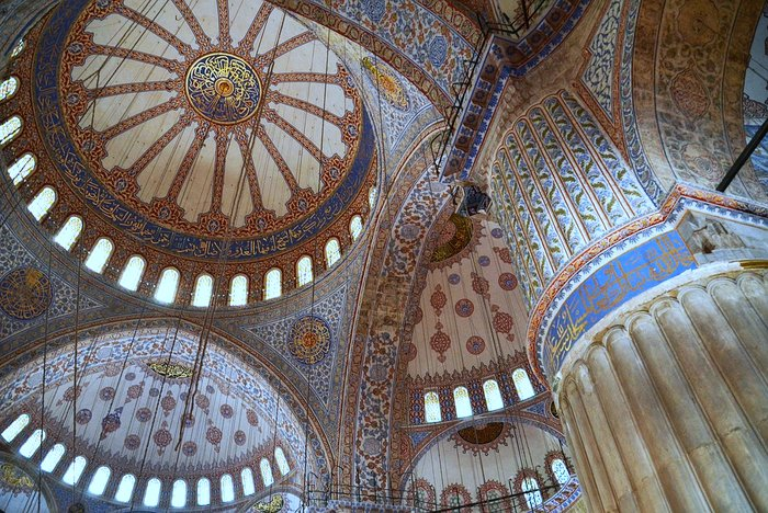 Inside the Blue Mosque - Sultanahmet Mosque in Istanbul, Turkey
