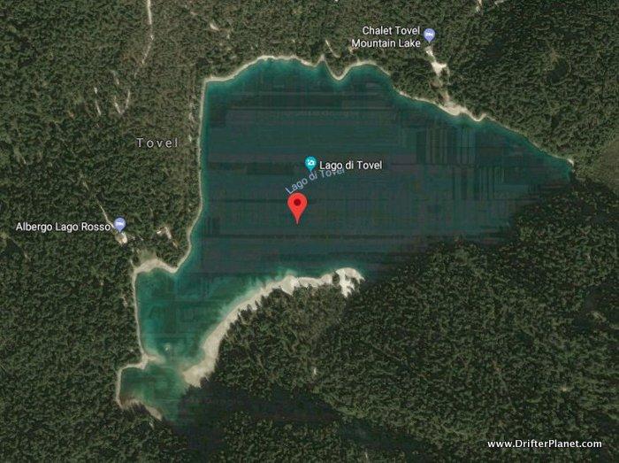 A satellite image of Lake Tovel captured on Google Maps - Lago di Tovel, Italy