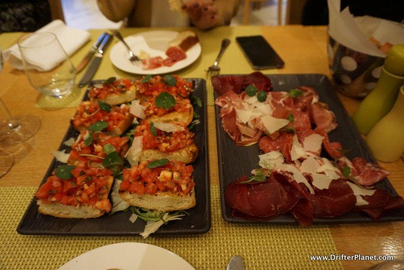 Bruschetta and Meat in Radisson Blu Hotel, Bucharest