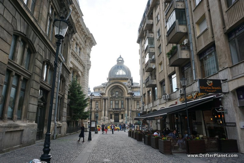 Walking around in Bucharest's Old Town - Cec Bank in the Distance