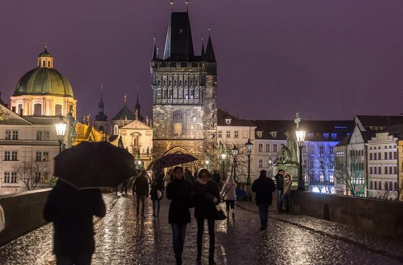 Prague Charles Bridge at night - where to stay in Prague
