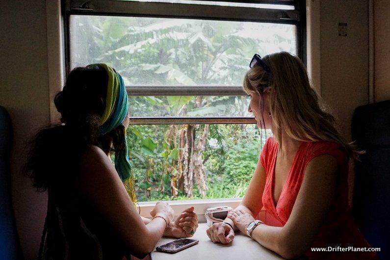 Inside second class train coach from Kandy to Nuwara Eliya, Sri Lanka