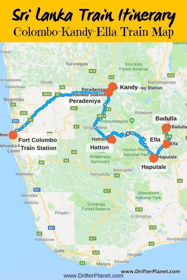 Sri Lanka Train Itinerary - Kandy to Ella train route