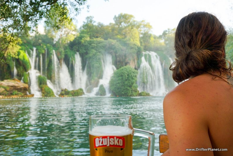 Eating and Drinking in Kravice Waterfalls Bosnia