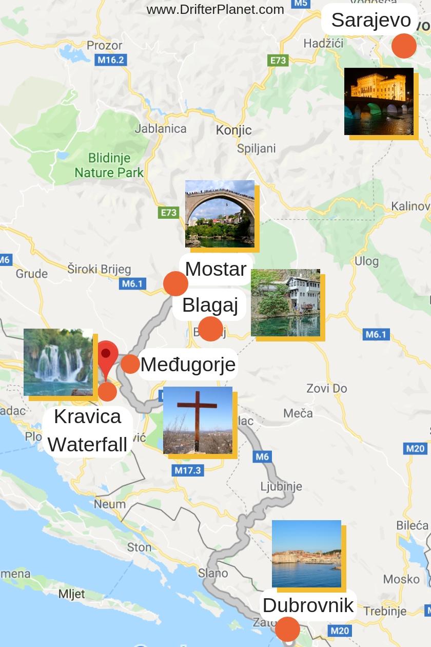 Kravice Waterfalls Map - How to Reach Kravica - Bosnia and Herzegovina