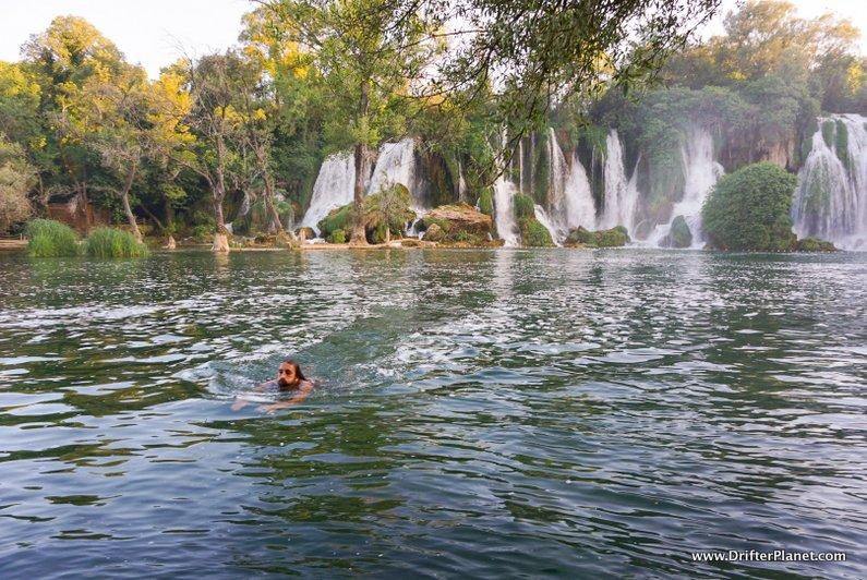 Swimming in Kravice Waterfall Pools in Bosnia and Herzegovina