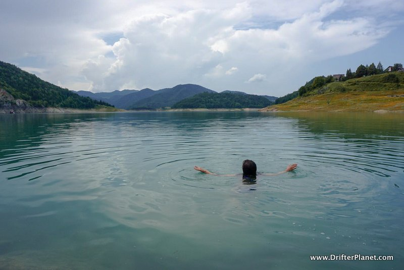 Swimming in Lake Zaovine in Tara National Park near Mokra Gora, Serbia