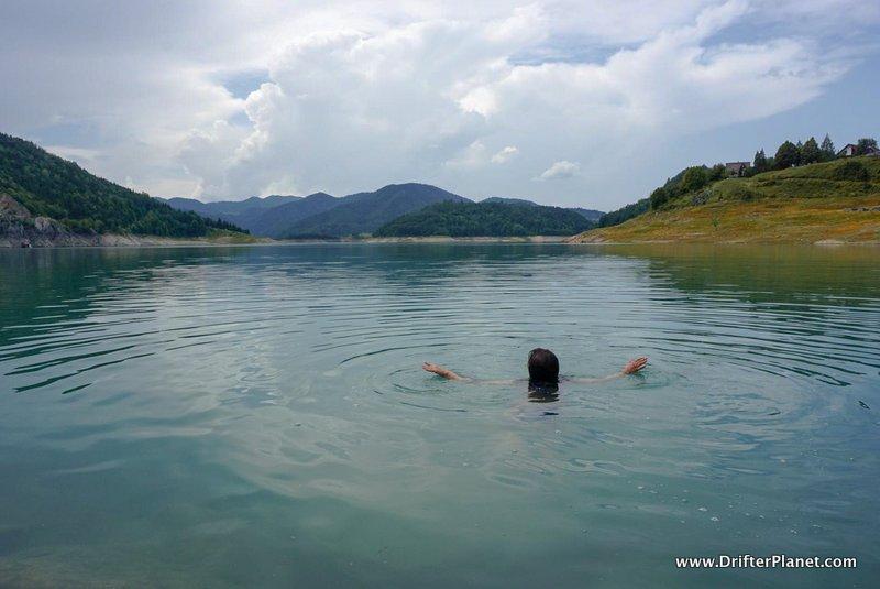 Swimming in Lake Zaovine in Tara National Park near Mokra Gora, Serbia