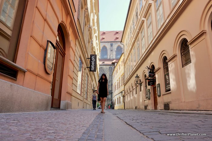 an empty street in the Old Town, Prague