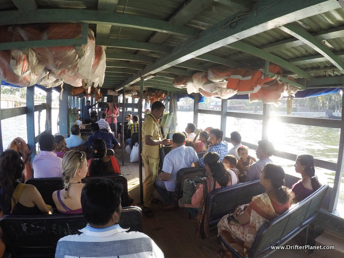Inside the government ferry - Alleppey backwaters
