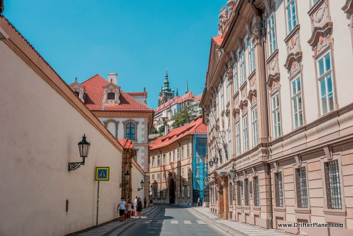 Mala Strana streets and Prague Castle in the distance