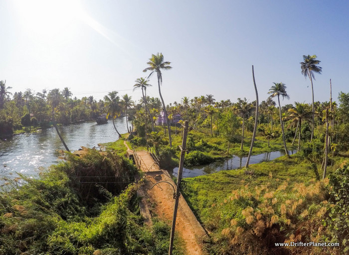 View of the village from the bridge, Alleppey backwaters area