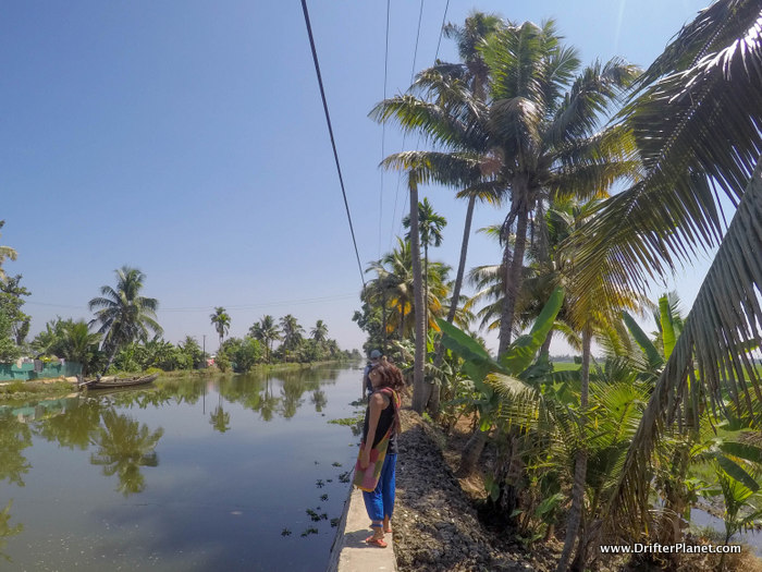 Walking along the canal in Alleppey Backwater area - Kuttanand villages, Kerala