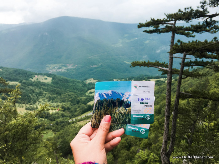 Our tickets for Durmitor National Park, Montenegro