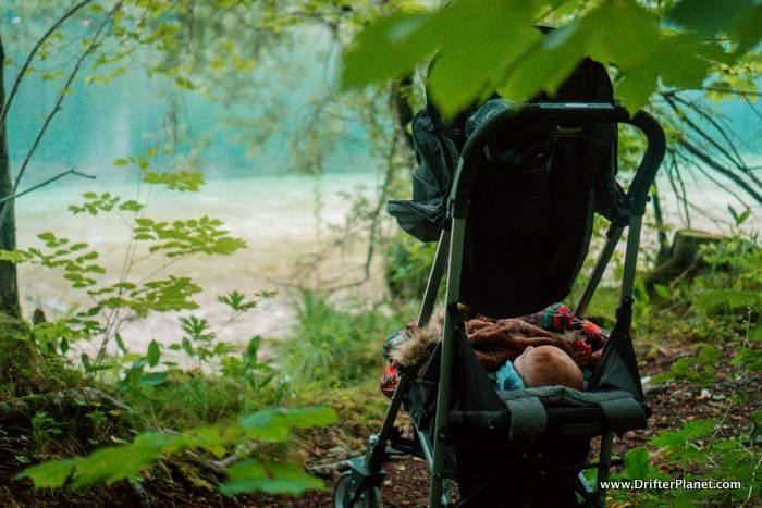 Baby sleeping in her pram in Slovenia