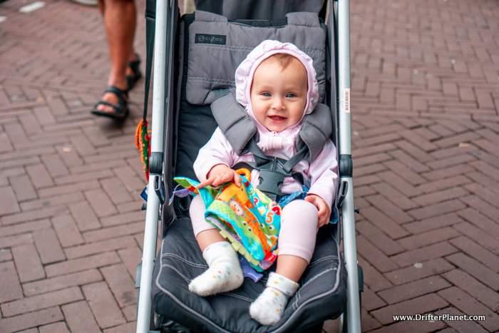 Karma in her pram in Amsterdam