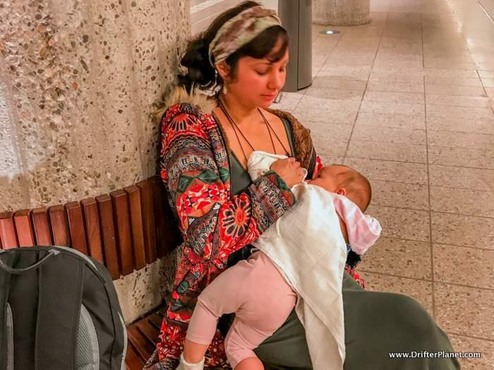 Me Breastfeeding my baby in Amsterdam's Waterloo Metro Station