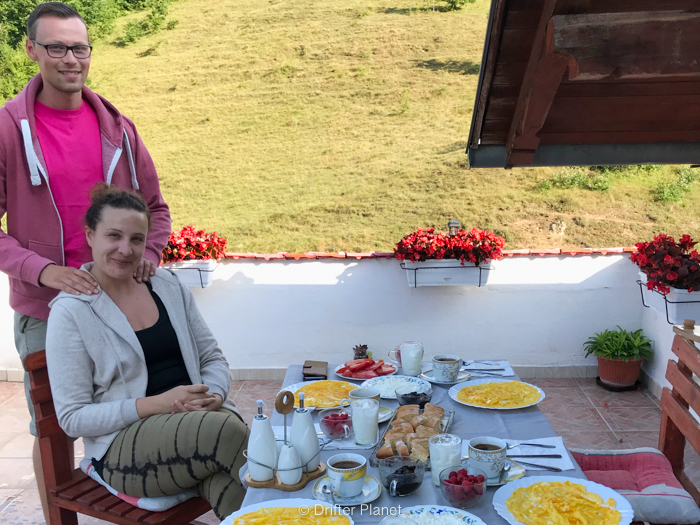 Breakfast with view on the balcony in Apartment Denis Una, Orasac - Una National Park, Bosnia & Herzegovina