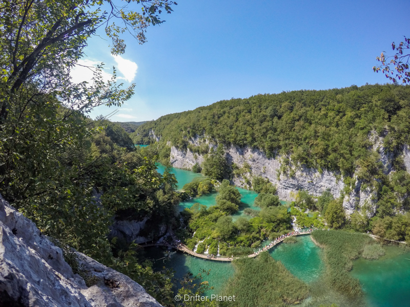 Panorama viewpoint on top of Veliki slap in Plitvice Lakes Croatia