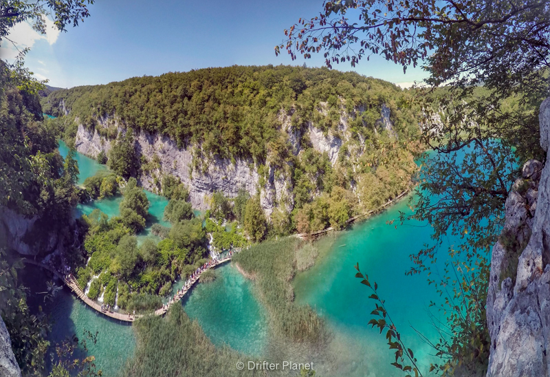 Panorama viewpoint on top of Veliki slap in Plitvice Lakes National Park Croatia