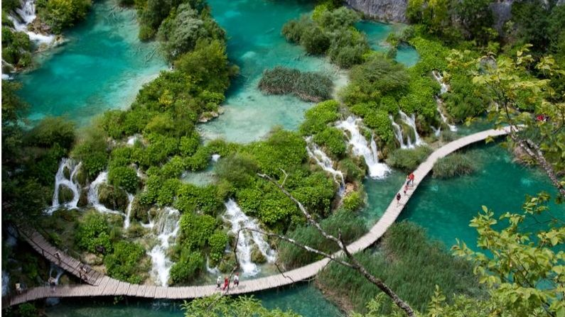 Plitvice Lakes - third viewpoint over the big waterfall that shoes the cascades