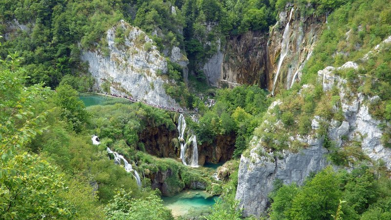 The Viewpoint on top of Veliki Slap in Plitvice Lakes National park Croatia