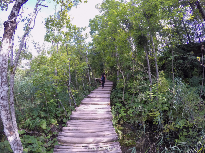 The wooden walking ramp in Plitvice Lakes National Park Croatia