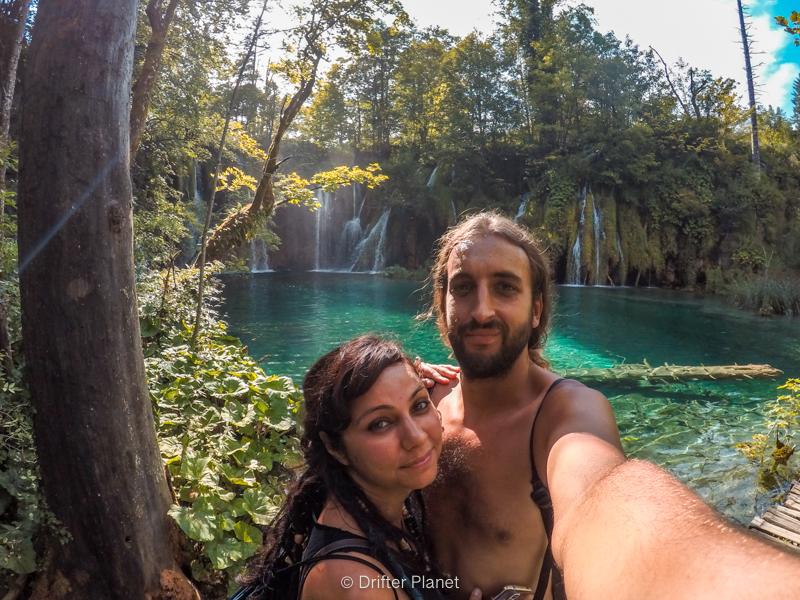 Us in front of Mali Prštavac Slap - small waterfall in Plitvice Lake Croatia
