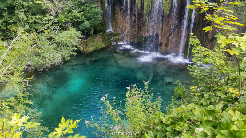 clear pools under Galovački Buk in Plitvice Lakes Croatia