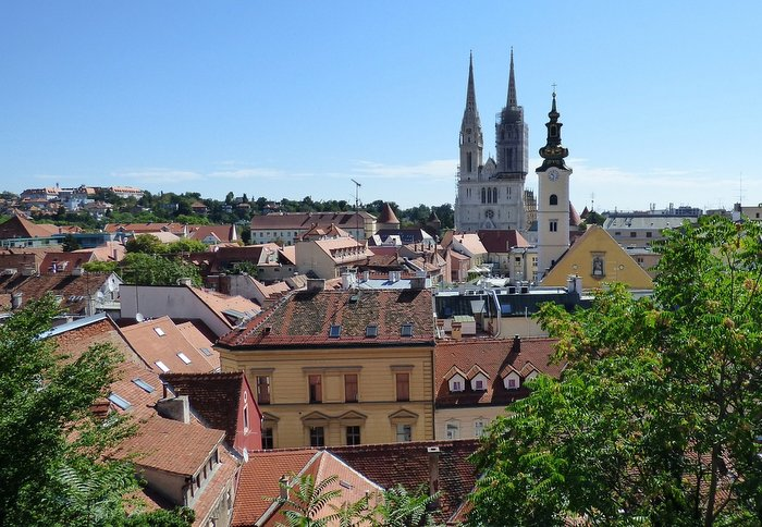 Cathedral and Rooftops in Zagreb - Croatia Road Trip itinerary