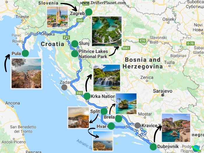 Croatia Road Trip itinerary suggested route - Map
