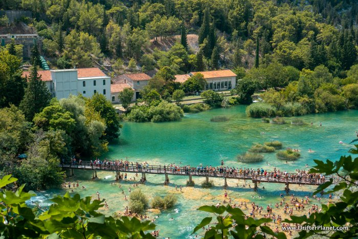 KRKA National People swimming in Park's Main Waterfall - Skradinski Buk - from up above - Croatia Itinerary