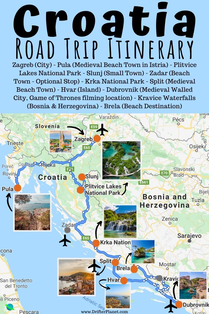 Pin It - Croatia Road Trip itinerary suggested route - Map