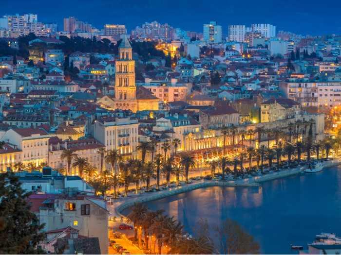 Split town at night - Croatia Itinerary