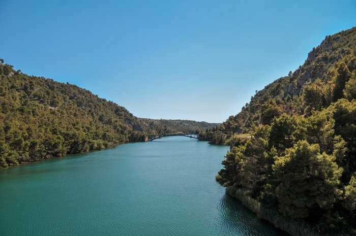 Views of Krka River from the ferry that goes to Krka National Park, Croatia