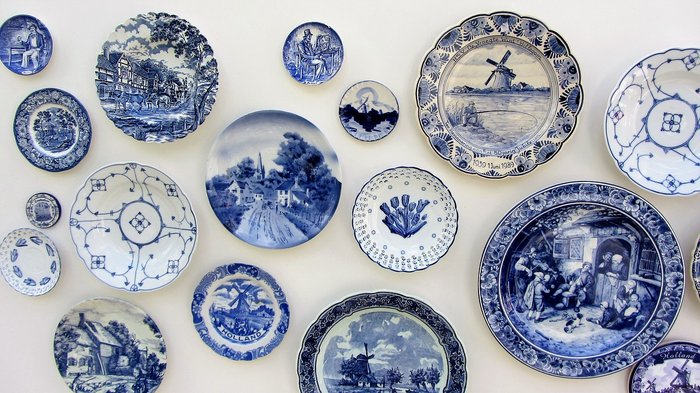 Blue and White Ceramic Plates in Delft, Netherlands