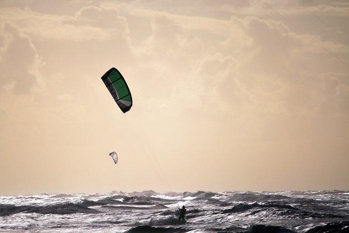 Kitesurfing in Zandvoort, the Netherlands