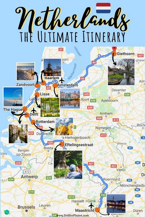 Netherlands itinerary suggested route - Map